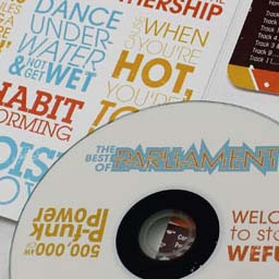 A 'Best of' cd album for 70's/80's funk band Parliament, reimagined with boldly blocked type quoting the song titles and lyrics. Shows interior of album and the disc.